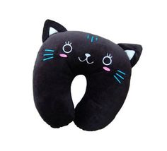 Description Travel in style with this adorable Kira Cat Travel Pillow that will be a purr-fect travel companion at the airport, in the car, or on the train. Predominantly black with a touch of blue, w