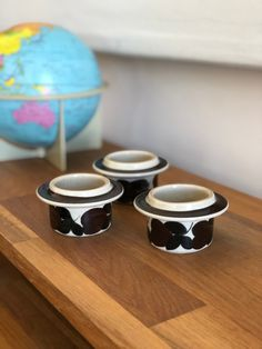 Excited to share this item from my #etsy shop: Set of 3 Arabia egg cups Ulla Procope Ruija series Egg Cups, Cup Design, Eggs, Hand Painted, Etsy Shop, Tableware, Vintage, Dinnerware, Egg