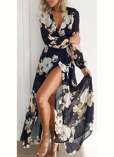 Awesome Women V Neck Floral Short Sleeve Dress Boho Long Maxi Evening Party Long Dress 2017 2018