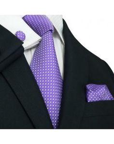 TheDapperTie - New Men's Purple Geometriic Silk Tie Set 26M