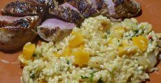 Birnen-Kürbis Risotto mit karamellisiertem Schweinefilet Parmesan, Chili, Grains, Rice, Ethnic Recipes, Portugal, Food, Meat, Pears