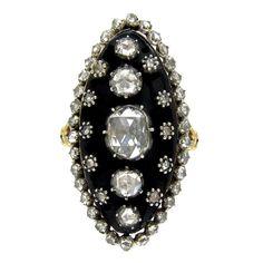 Georgian Stellar Marquise Diamond Ring. A fabulous Georgian rose diamond and black glass large navette ring. c 1780-1900