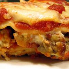 Eggplant Lasagna Recipe  INGREDIENTS:   2 large eggplantssalt12 oz. (340 grams) lasagna noodles15 oz. (420 grams) soft farmer, or vegetarian cheese (1 3/4 cups)12 oz. (340 grams) shredded vegetarian mozzarella (3 cups)1-2 tsp. dried parsleysalt and freshly ground black pepper to taste2 eggs, lightly beaten1 cup bread crumbsolive oil1 26 oz. (700 grams) jar marinara sauce1/2 cup (2 ounces) grated vegetarian cheese  Prep Time:30 minutesCook Time:60 minutes.  Total Time:90 minutes…