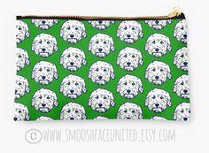 Goldendoodle zipper pouch, sleeve, pocket, clutch, bag, organizer - color OPTIONS - great Golden doodle gift!