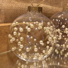 Pearl wired Christmas Ornaments, Rustic Chic Ornaments!  These clear, wired pearl filled, hemp string Christmas ornaments will be a great