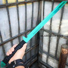 "27"" FULL TANG NINJA MACHETE KATANA SWORD ZOMBIE TACTICAL SURVIVAL KNIFE GREEN - BladeAddiction"