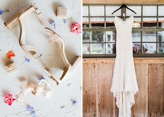 Darling Florida Wedding At A Family Farm Lush With Spanish Moss: These off-white heels work so well with the brides off-white lace dress!