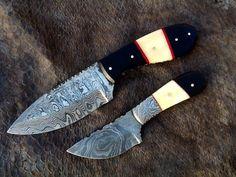 2,HANDMADE DAMASCUS steel HUNTING Pair KNIVES ( Winter OFFER ) bone& horn handle #HANDMADE