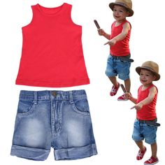 6cbcb98b245 Years Old 2017 Summer New Fashion Leisure Suit Toddler Kids Baby Boy Red  Vest + Denim Pants Trousers Outfits Clothes