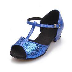 Women & Kids' Sparkling Glitter T Stripe Chunky Heel Sandals Dance Shoes (More Colors)