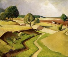 """Grant Wood Iowa Landscape--""""The Crik,"""" Oil on board, Katherine G. Ordway Fund purchase, The Hillstrom Museum of Art at Gustavus Adolphus College will open three concurrent… Grant Wood Paintings, Artist Grants, Wood Images, Arts And Crafts House, American Gothic, Portraits, Picture On Wood, American Artists, American Realism"""