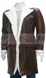 Men's Full Length Brown Leather Coat with Fur Collar : Mage