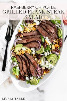 For an easy summer dinner, you can't beat this grilled Flank Steak salad with raspberry chipotle marinade that doubles as the dressing! A bed of tender butter lettuce is the base for juicy, perfectly grilled Flank Steak, smoky grilled corn, toasted pecans, creamy goat cheese and avocado, and punchy red onion. And all the cooking is done on the grill, so cooking and cleanup are easy and streamlined. ad @beeffordinner #BeefItsWhatsForDinner #NicelyDone #UnitedWeSteak #BeefFarmersandRanchers Summer Salad Recipes, Healthy Salad Recipes, Summer Salads, Pasta Salad Recipes, Healthy Summer, Summer Drinks, Best Beef Recipes, Grilling Recipes, Real Food Recipes
