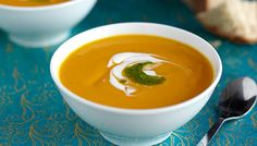 Sweet Potato Soup with Sour Cream and Pesto This sounds so tasty and different.