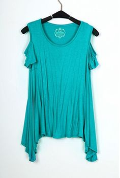 Turquoise Round Neck Cut Out Shoulder Hanky Hem T-shirt - Sheinside.com
