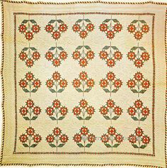 Pieced Quilt Flower Quilted & Stuffed 1850 New England