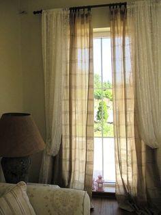 Brown stripe CURTAIN panel 4 pcs narrow window door-lightweight green beige stripe linen-country beach cottage style-Turkish Odemis fabric. $115.00, via Etsy.
