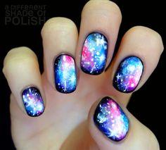 Crazy galaxy nails! Best I have seen so far! Via tumblr