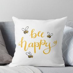 """Super soft and durable spun polyester Throw pillow with double-sided print. Cover and filled options. Honey yellow bee design with lettering lettering """"bee happy"""". Bedroom Themes, Girls Bedroom, Bedroom Decor, Bedroom Ideas, Yellow Room Decor, Sunflower Room, Yellow Throw Pillows, Bee Happy, Aesthetic Bedroom"""