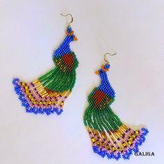 Earrings-Beaded Peacock (Peacock Seed Bead Earrings)