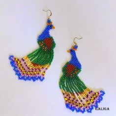 Earrings-Beaded Peacock (Peacock Seed Bead Earrings)