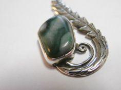 Green New Zealand jade pendant. Sterling silver. by SuloJewellery, $45.00 #jadependant #jade #silverleaf
