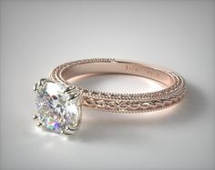 14K Rose Gold Etched Rope Solitaire   This beautiful split prong solitaire features an etched rope design enhanced by milgrain edges. Breathtaking simplicity with elegant design details.   Ring Style: 17962R14 on JamesAllen.com. Click to view this ring in 360°.