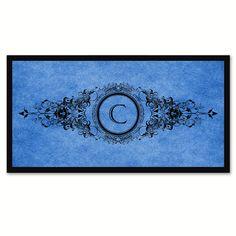 Alphabet Letter C Blue Canvas Print Black Frame Kids Bedroom Wall Décor Home Art
