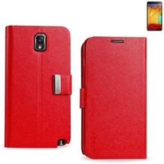 myLife Bright Red {Classic Smooth Design} Faux Leather (Card, Cash and ID Holder + Magnetic Closing) Slim Wallet for Galaxy Note 3 Smartphon...