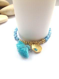 Turquoise Seed Bead Bracelets - Friendship Bracelets with Charm - Tassel Bracelets