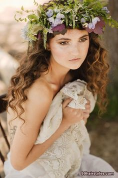 whimsical wedding hairstyle - Amanda, wavy like this but with a band instead of a wreath