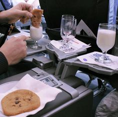 ... chocolate chip cookies & a glass of chilled milk before we land? More