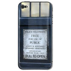 Tardis Doctor Who Police Call Box Apple iPhone 4 / 4S Gel Skin Cover (Free Shipping)