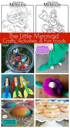 Disney's The Little Mermaid Crafts, Activities, Coloring Pages, and Fun Foods! Free printables and links to other great ideas - via momendeavors.com #Disney #LittleMermaid