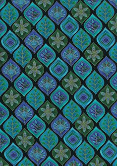 Leaf Geo reprinted companion to Peacock Fabric in Blue, Purple,Teal, Turq…