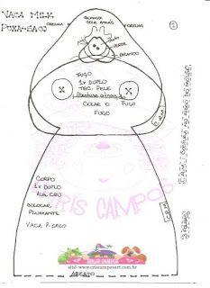 Mundo das Vaquinhas: Puxa-Saco de vaquinha com molde