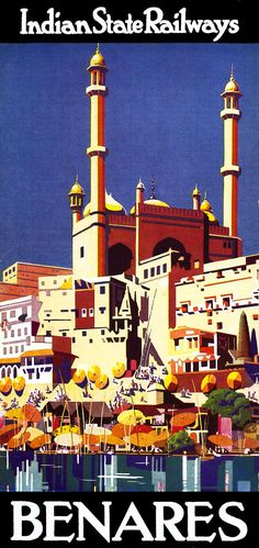 Travel Poster Benares Indian Estate Railways ca.1930 Travel