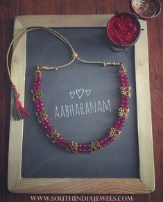 Beaded Kemp Necklace From Aabharanam ~ South India Jewels Gold Jewellery Design, Bead Jewellery, Beaded Jewelry, Gold Jewelry, Ruby Jewelry, Temple Jewellery, Antique Jewellery, Fashion Jewellery, Designer Jewelry