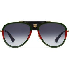 edc3e187b Gucci Aviator Metal Sunglasses With Leather ($545) ❤ liked on Polyvore  featuring men's fashion