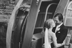 Kat Stanley Photography :: Black and white :: Kiss :: Bride :: Groom :: Love Boat :: Wedding Photo