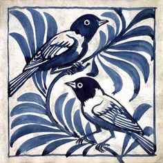 William de Morgan was a key figure of the Arts and Crafts movement and is particularly well known for his work in ceramic decoration. From his studio at the Orange House in Chelsea he designed and produced a bewildering array of ceramic tiles decorated with foliage, animals and birds in the style of William Morris. These two weaver birds sit together on a branch in a blue variation of one of his designs.