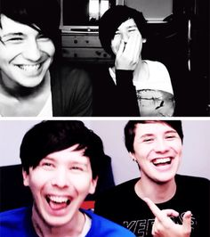 Dan and Phil laughing. So cute :)