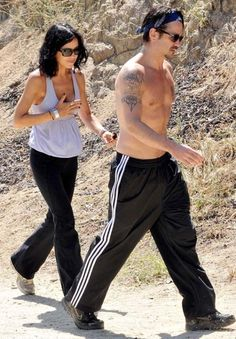 Gorgeous and shirtless Colin Farrell and his sister Claudine Farrell