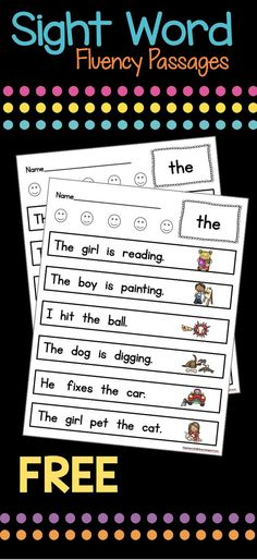 Sight word fluency packet color and BW FREE perfect for literacy center homework and self starter Learn sight words quickly and in context Reading Fluency, Reading Intervention, Kindergarten Reading, Teaching Reading, Guided Reading, Close Reading, Reading Resources, Reading Activities, Teacher Resources