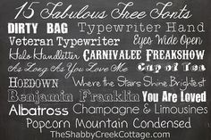 15 Free Fonts via The Shabby Creek Cottage