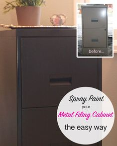 How to Spray Paint a Metal Filing Cabinet - This Bold Home<br> Painted Metal Desks, Metallic Painted Furniture, Spray Paint Furniture, Diy Spray Paint, Metallic Spray Paint, Spray Painting, Furniture Redo, Spray Paint For Metal, Painting Tips