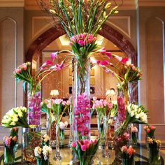 A dazzling pink tower of flowers at @Mandy Bryant Dewey Seasons Hotel Doha.
