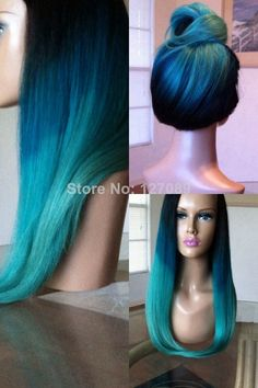 Free shipping ombre turquoise silky straight synthetic lace front wig heat resistant fiber blue green ombre tone wig