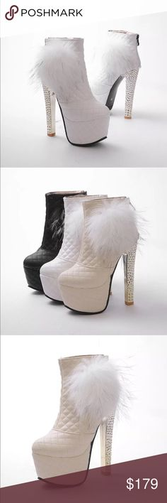 White Pom Pom fur booties ankle boot platform heel Pink white or black r barbie snow winter ❄️ boot babydoll snow bunny 🐰 heels ski snowboarding moonboots snowy ice hiking bodysuit  platforms vixen Pastel costume burning man Coachella. party festival parade edc club dress up costume go go dancer stripper house music concert barbie Pastelgoth dance rave festival costume wear with skirts dress boots cheerleader luichiny buffalo tower London euro club house dancing go go electric Daisy…