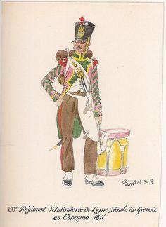 French; 88th Line Infantry, Grenadier Drummer, Spain, 1811, by Richard Knötel.